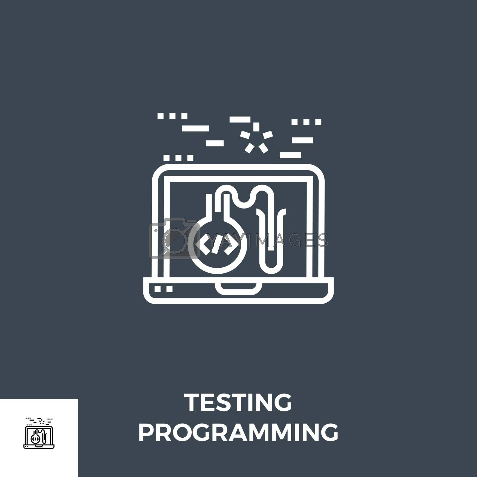 Testing Programming Related Vector Thin Line Icon. Isolated on Black Background. Vector Illustration.