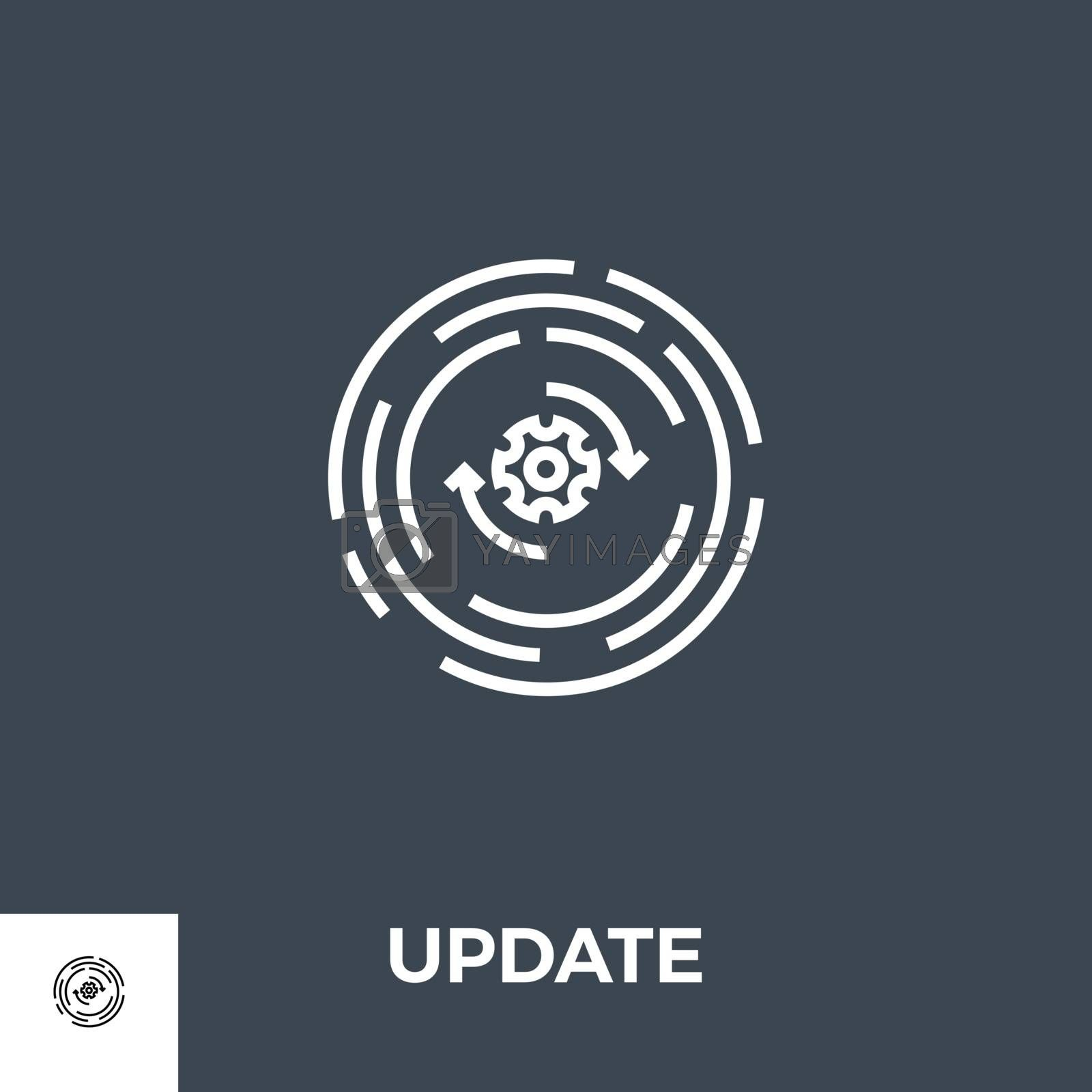 Update Related Vector Thin Line Icon. Isolated on Black Background. Vector Illustration.