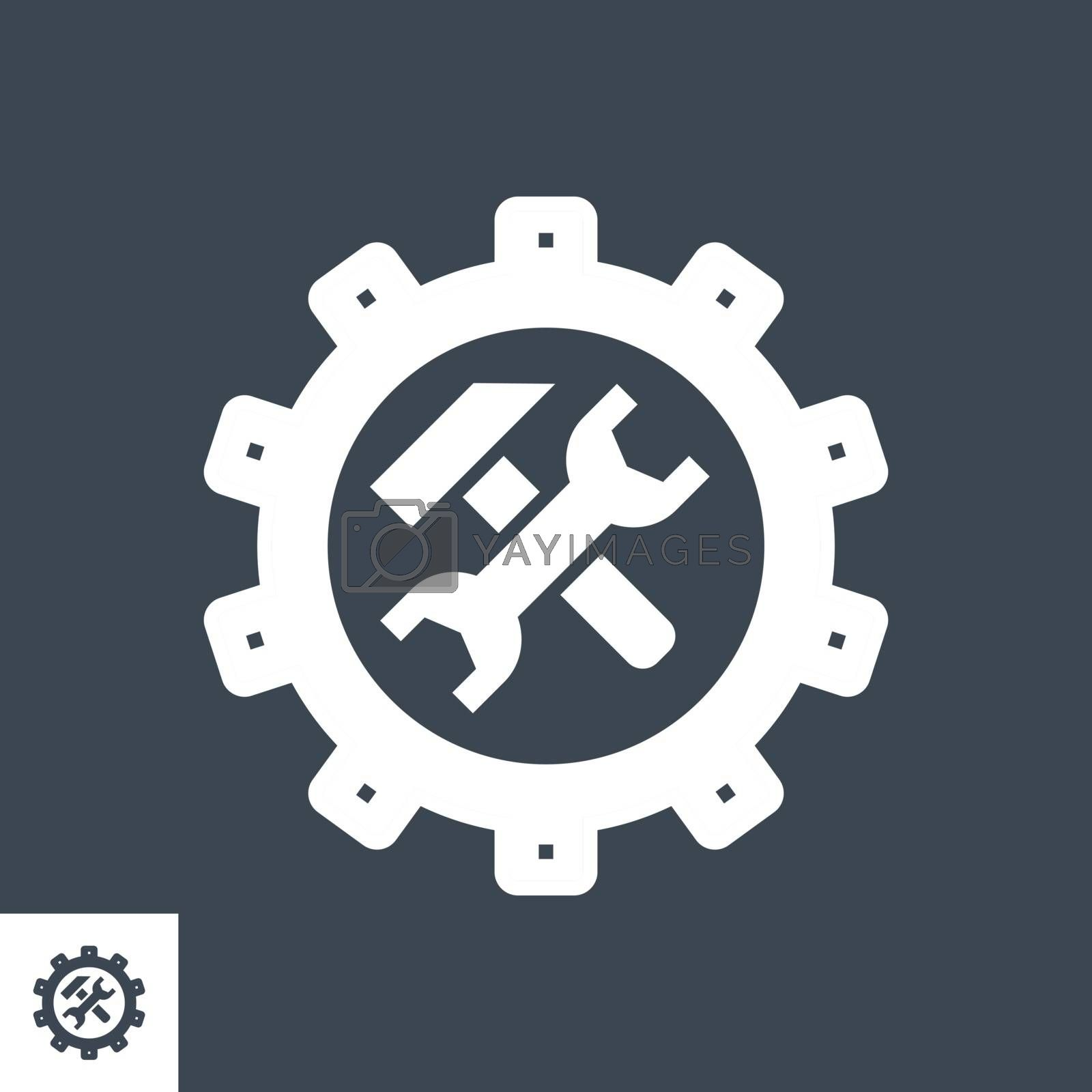 Technical Support Related Vector Glyph Icon. Isolated on Black Background. Vector Illustration.