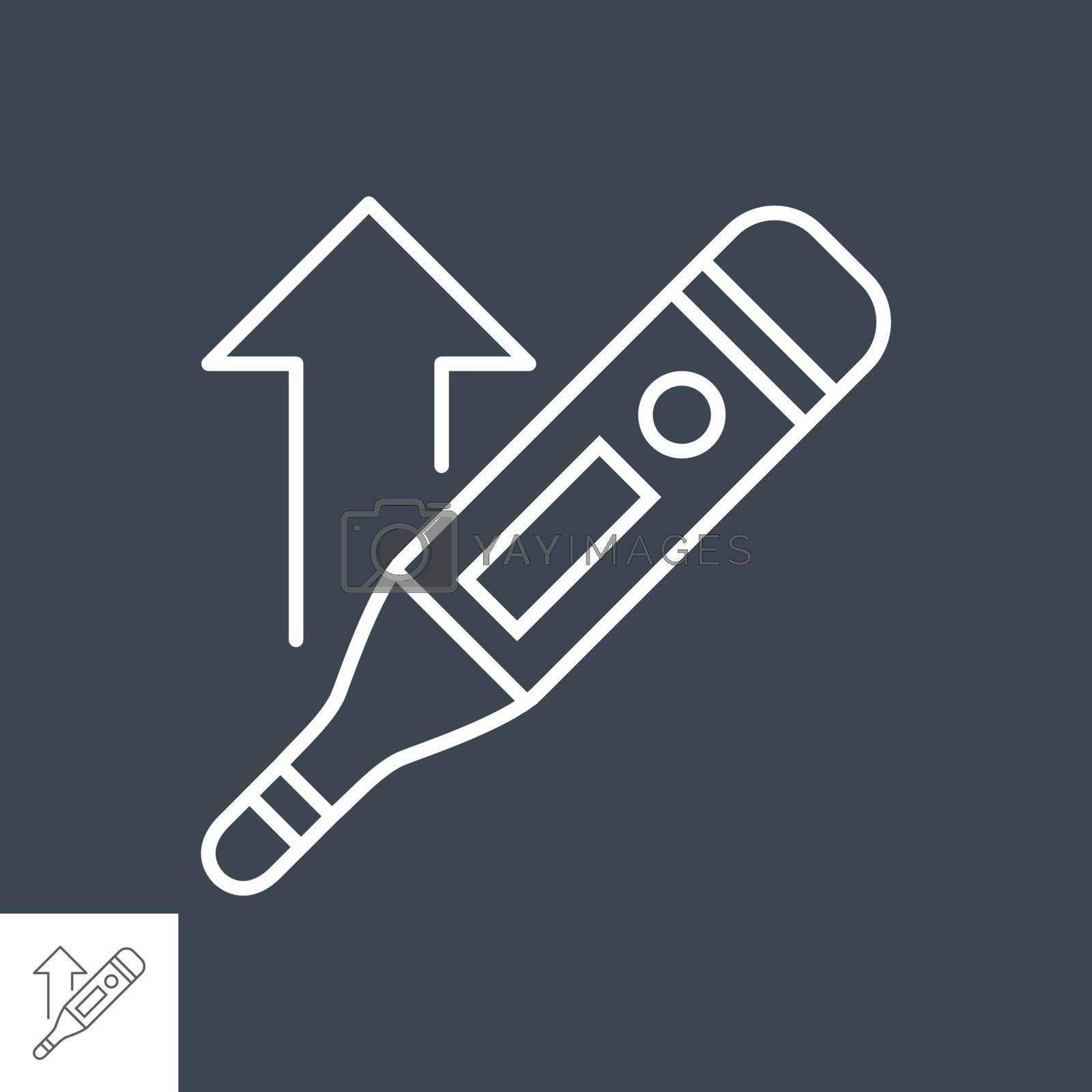 Thermometer with a high temperature related vector thin line icon. Isolated on black background. Editable stroke. Vector illustration.