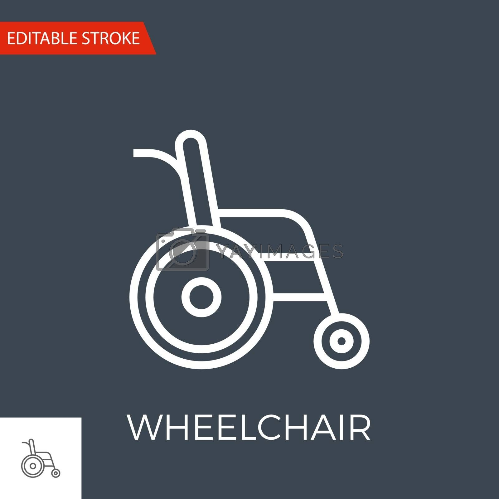Wheelchair Thin Line Vector Icon. Flat Icon Isolated on the Black Background. Editable Stroke EPS file. Vector illustration.