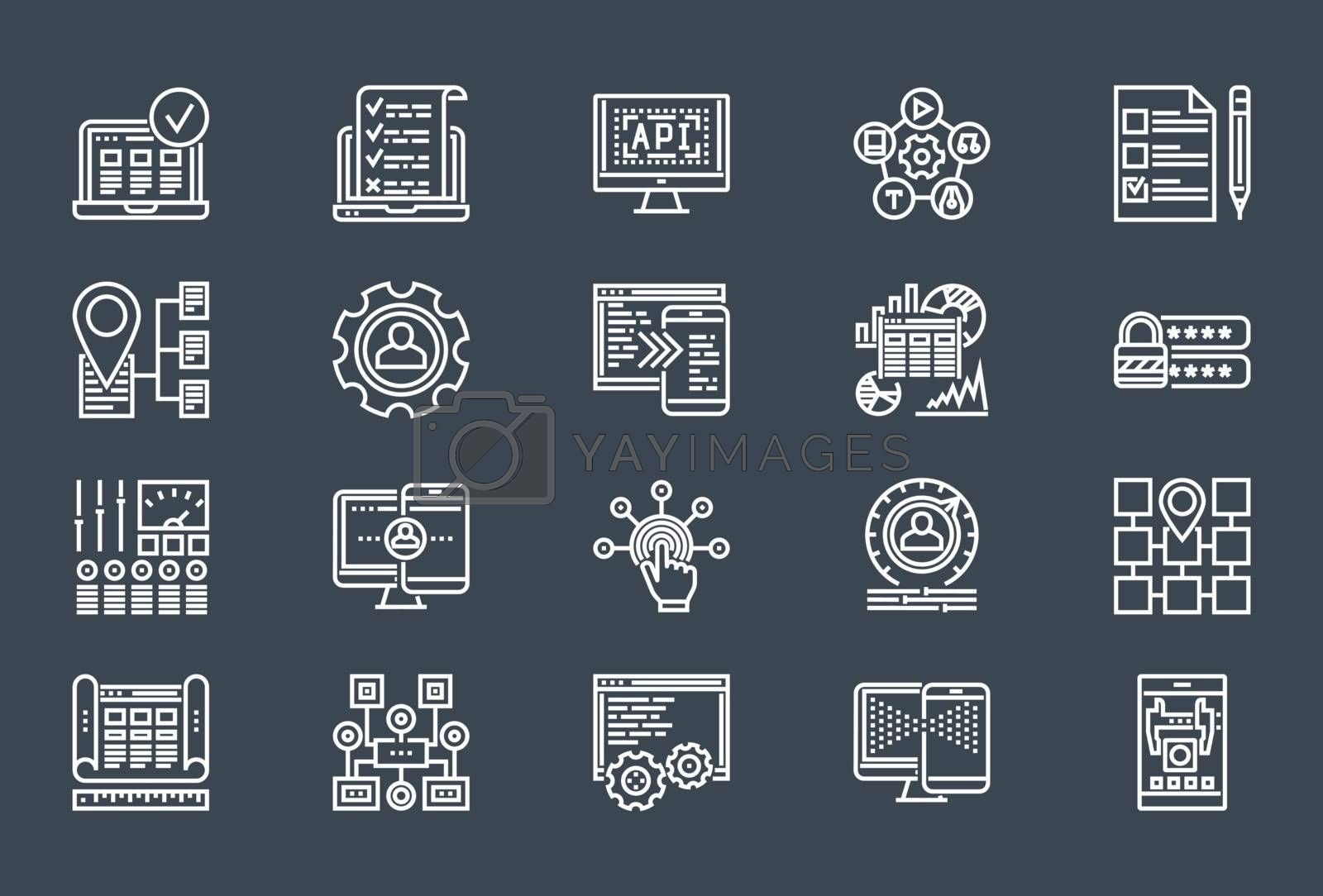Web Development Thin Line Related Icons Set of Web Design and Website Customization on Black Background. Simple Mono Linear Pictogram Stroke Vector Logo Concept. Editable Stroke. 48x48 Pixel Perfect.