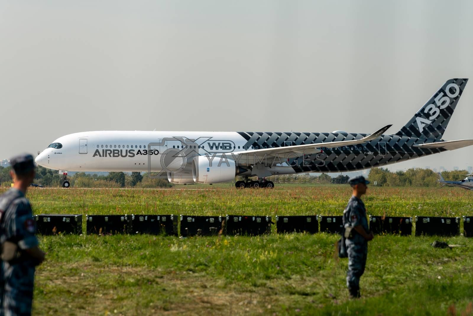 August 30, 2019. Zhukovsky, Russia. long-range wide-body twin-engine passenger aircraft Airbus A350-900 XWB Airbus Industrie at the International Aviation and Space Salon MAKS 2019.