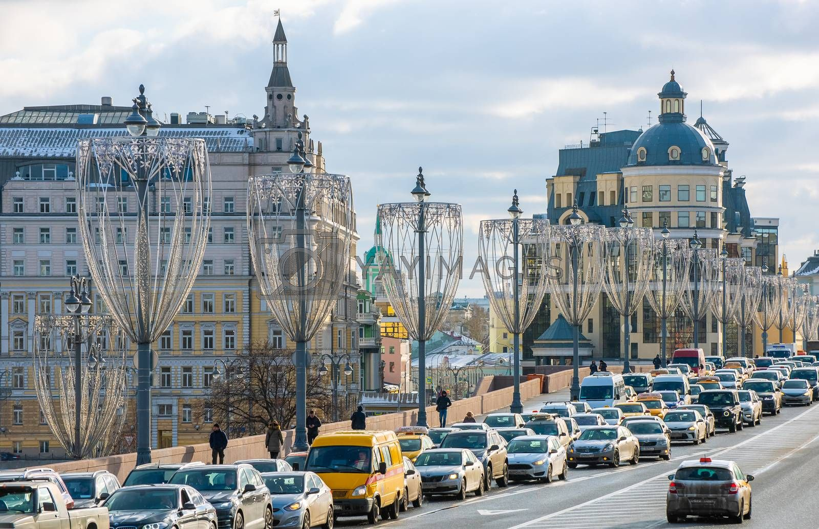 February 5, 2020 Moscow, Russia, Traffic jam on the Bolshoy Moskvoretsky bridge in Moscow.