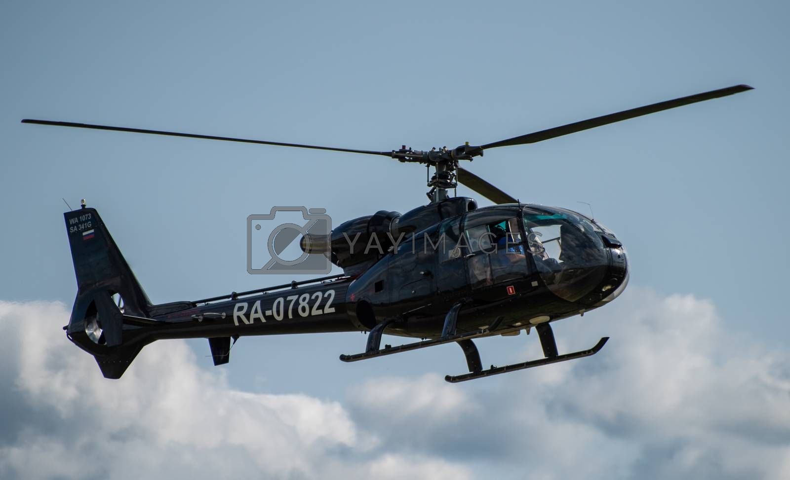 September 12, 2020, Kaluga region, Russia. Helicopter Sud-Aviation Gazelle SA 341 G at the airport Oreshkovo.