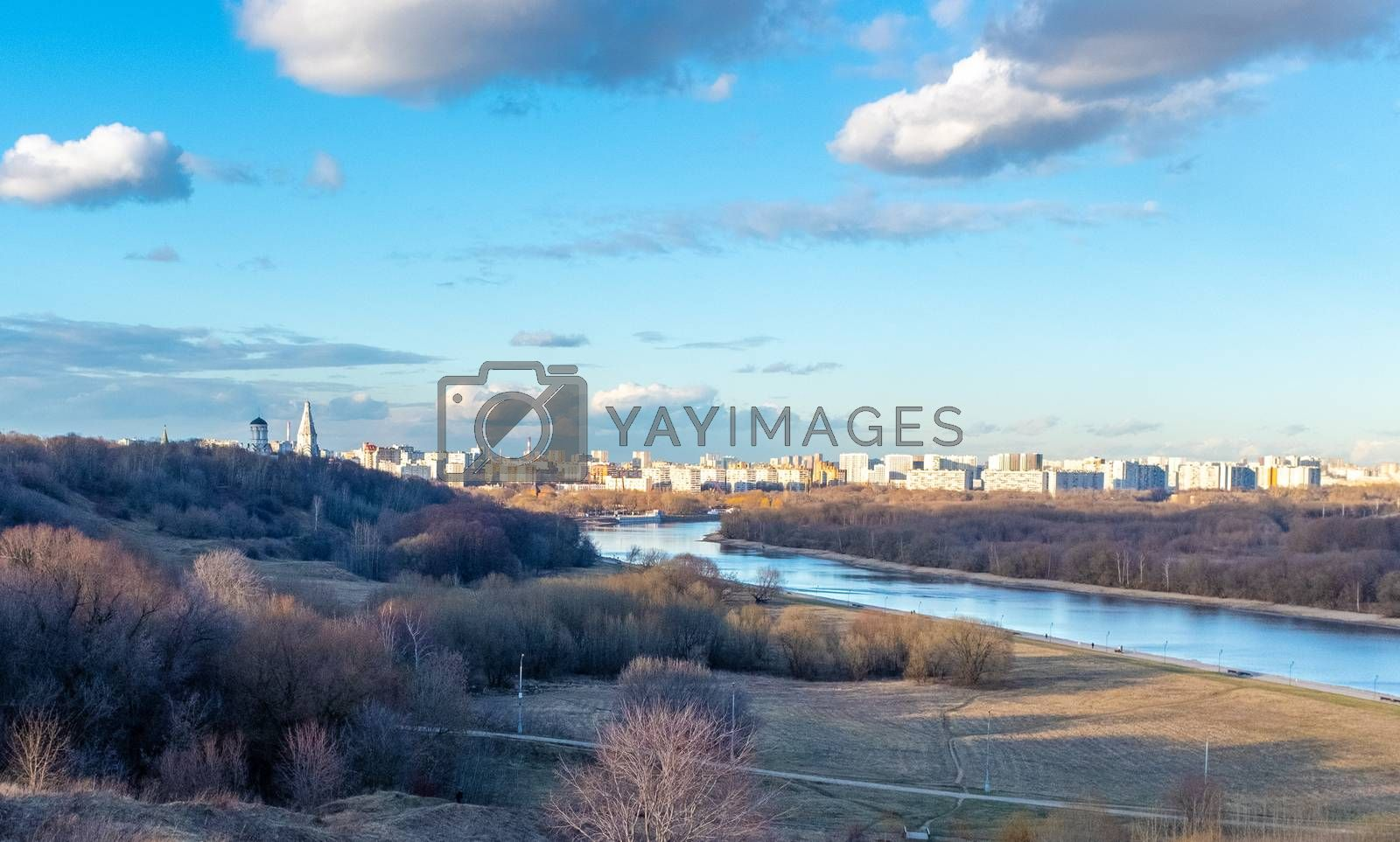 View of the Russian capital from a high hill in the Kolomenskoye park.