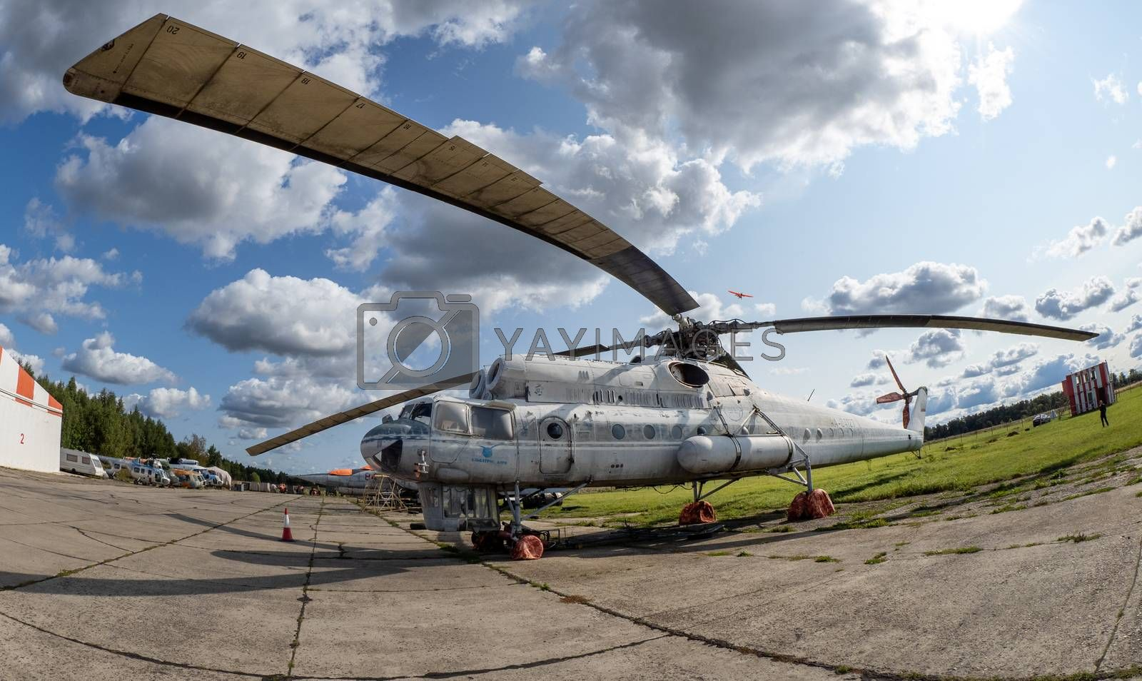 September 12, 2020, Kaluga region, Russia.  Military transport helicopter (flying crane) Mil Mi-10 at the Oreshkovo airfield.
