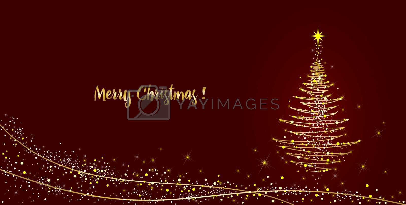 Greeting card Christmas tree shining with gold by liolle
