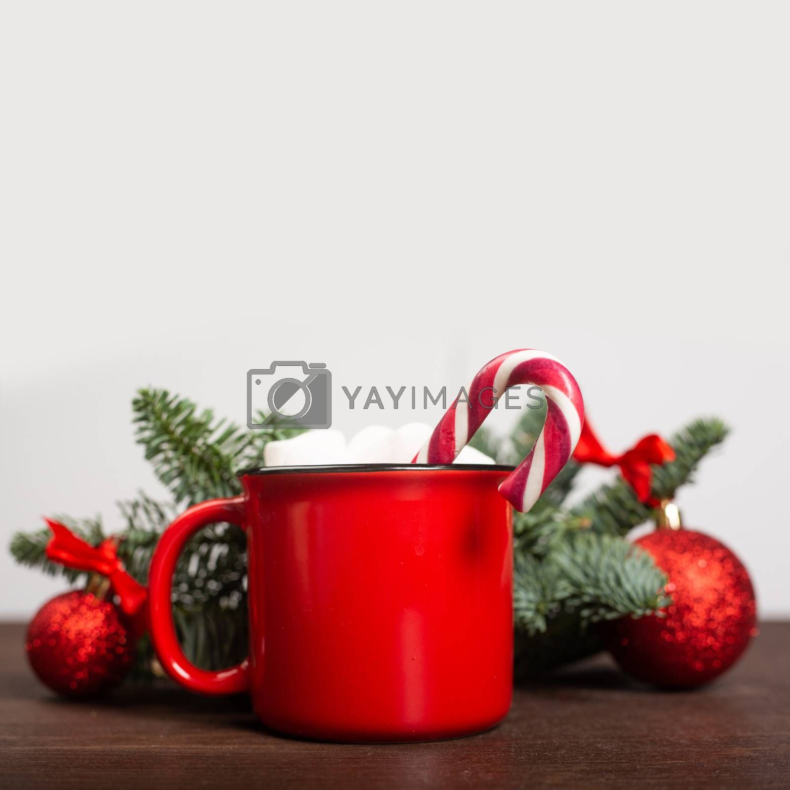 Royalty free image of Cocoa red mug with marshmallows by destillat