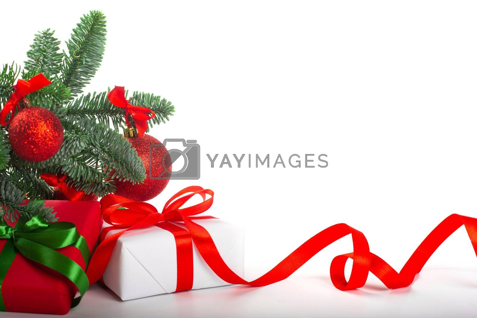 Royalty free image of Gift boxes with red bow by destillat