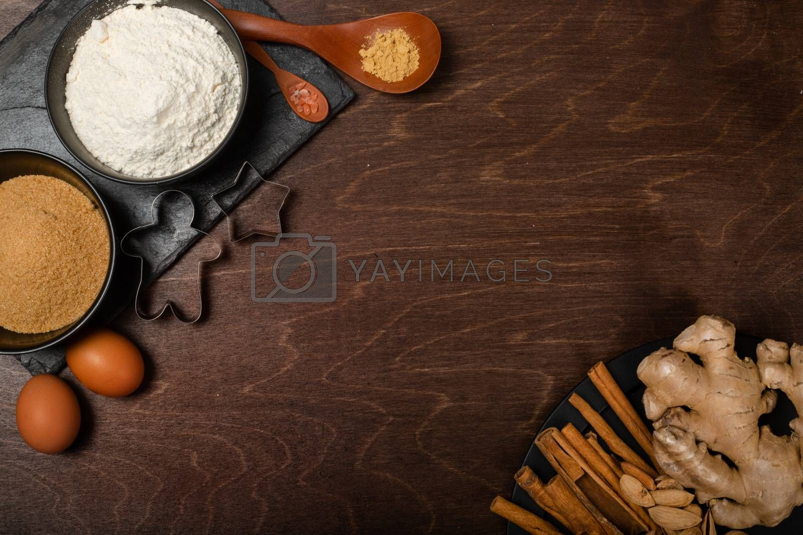 Royalty free image of Christmas cookie cooking background by destillat