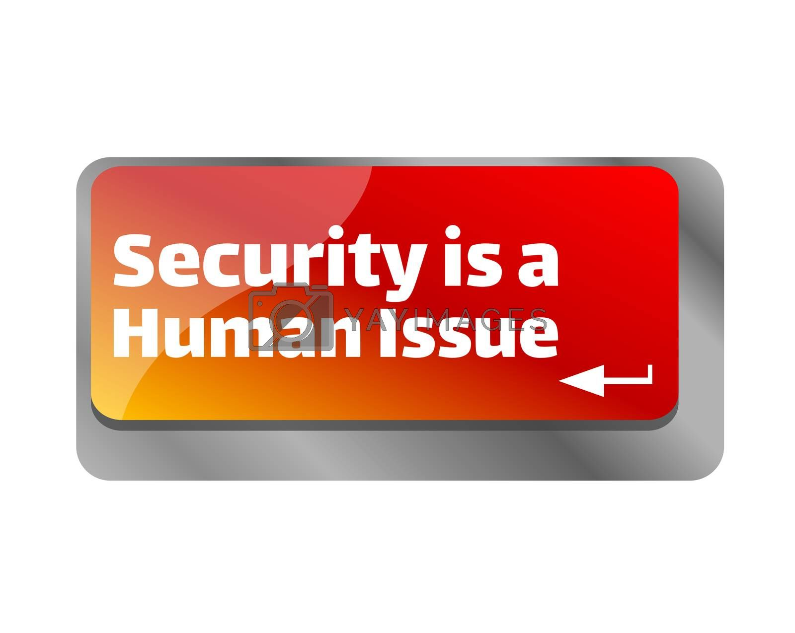Security is a human issue . Close up of keyboard, enter computer key.