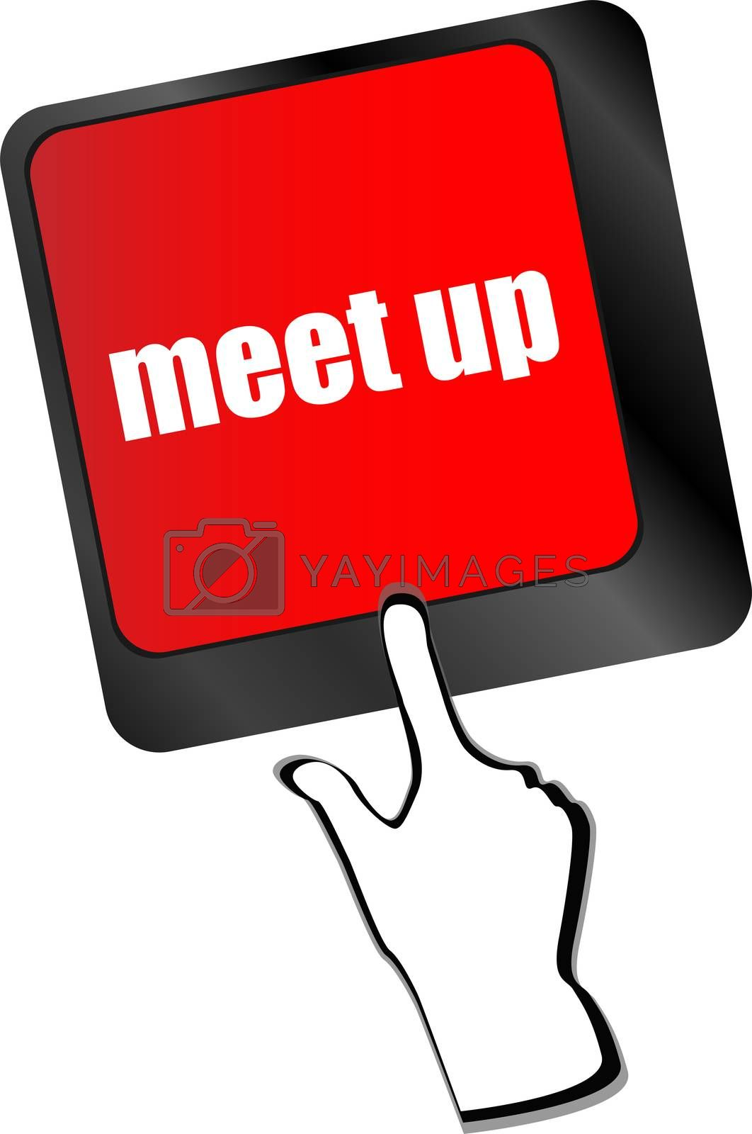 Meeting (meet up) sign button on keyboard with soft focus