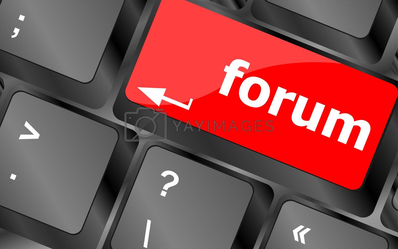 Computer keyboard with forum key - business concept