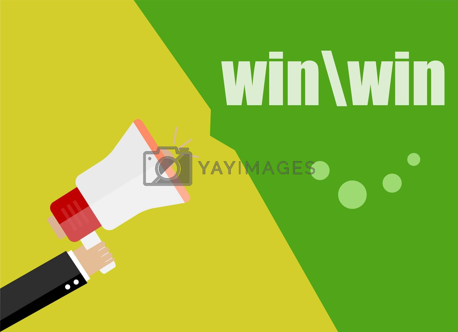 win. Flat design business concept Digital marketing business man holding megaphone for website and promotion banners