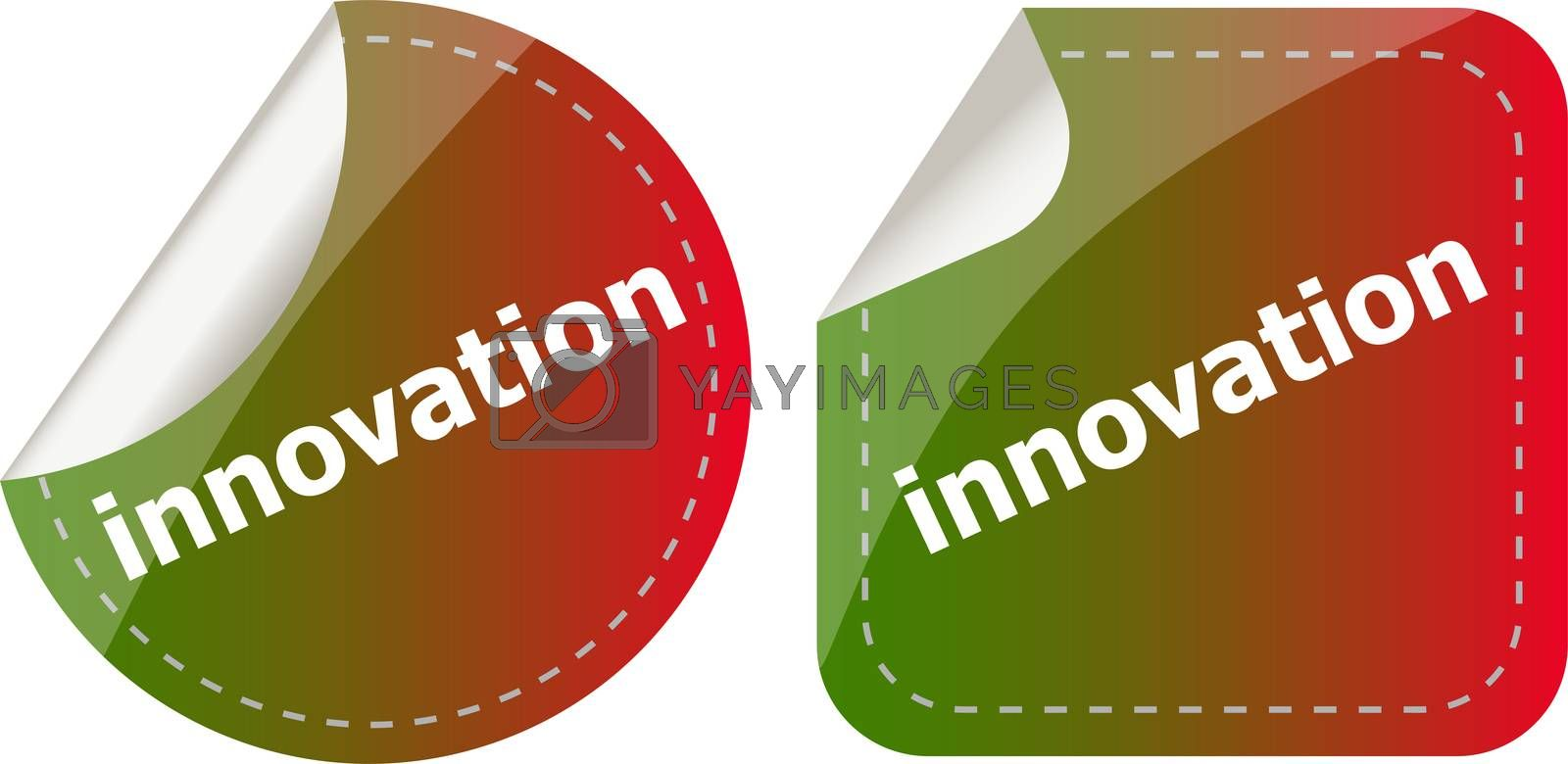 innovation word on stickers button set, label