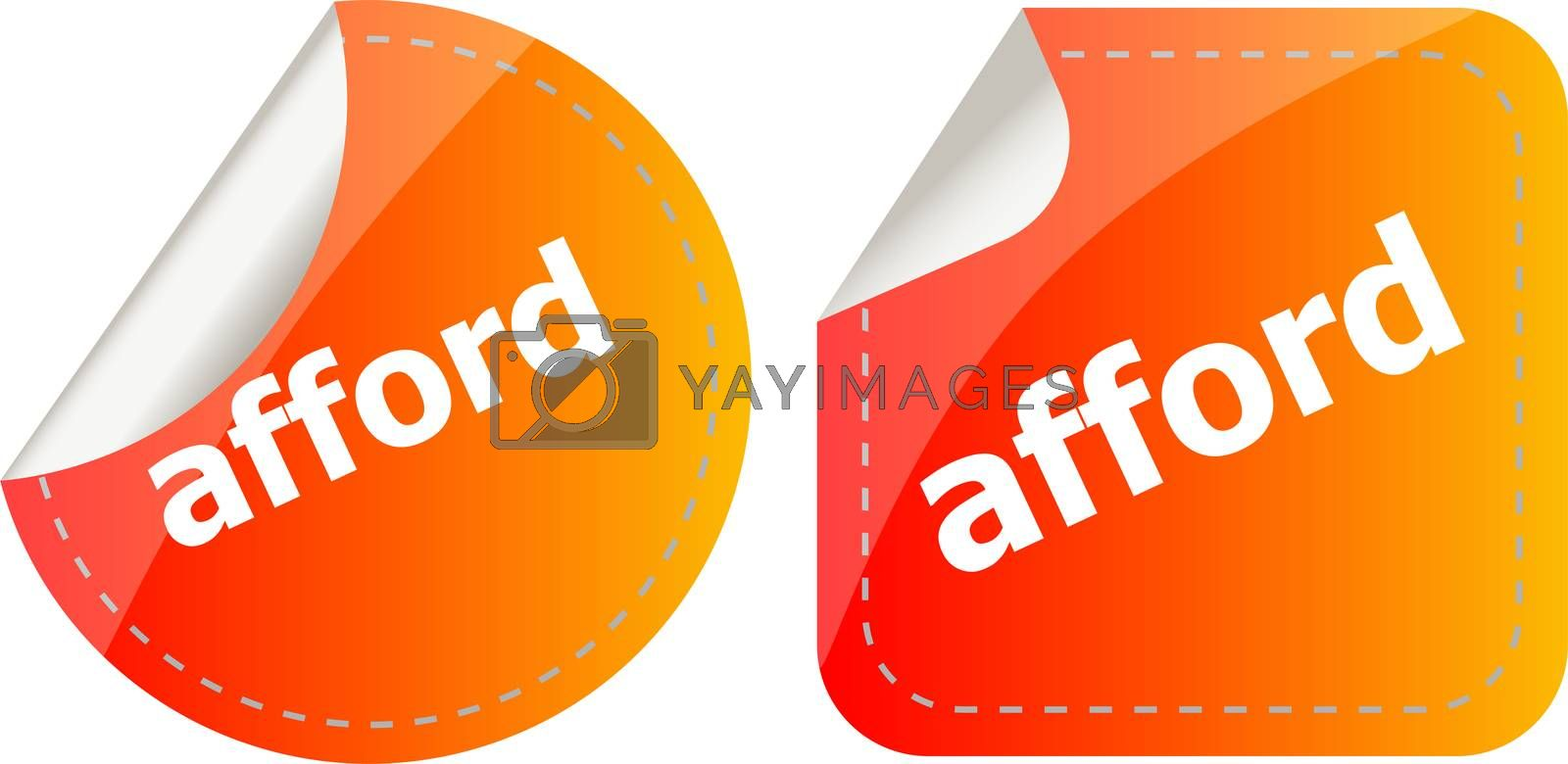afford word stickers set, icon button isolated on white