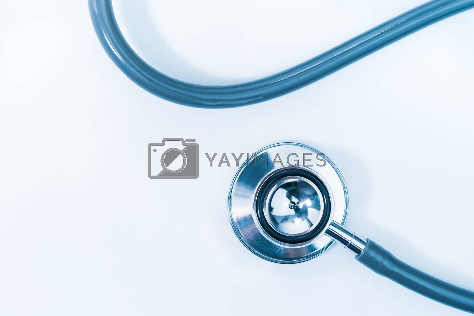 Medical stethoscope for doctor checkup on health medical laboratory table as medical concept