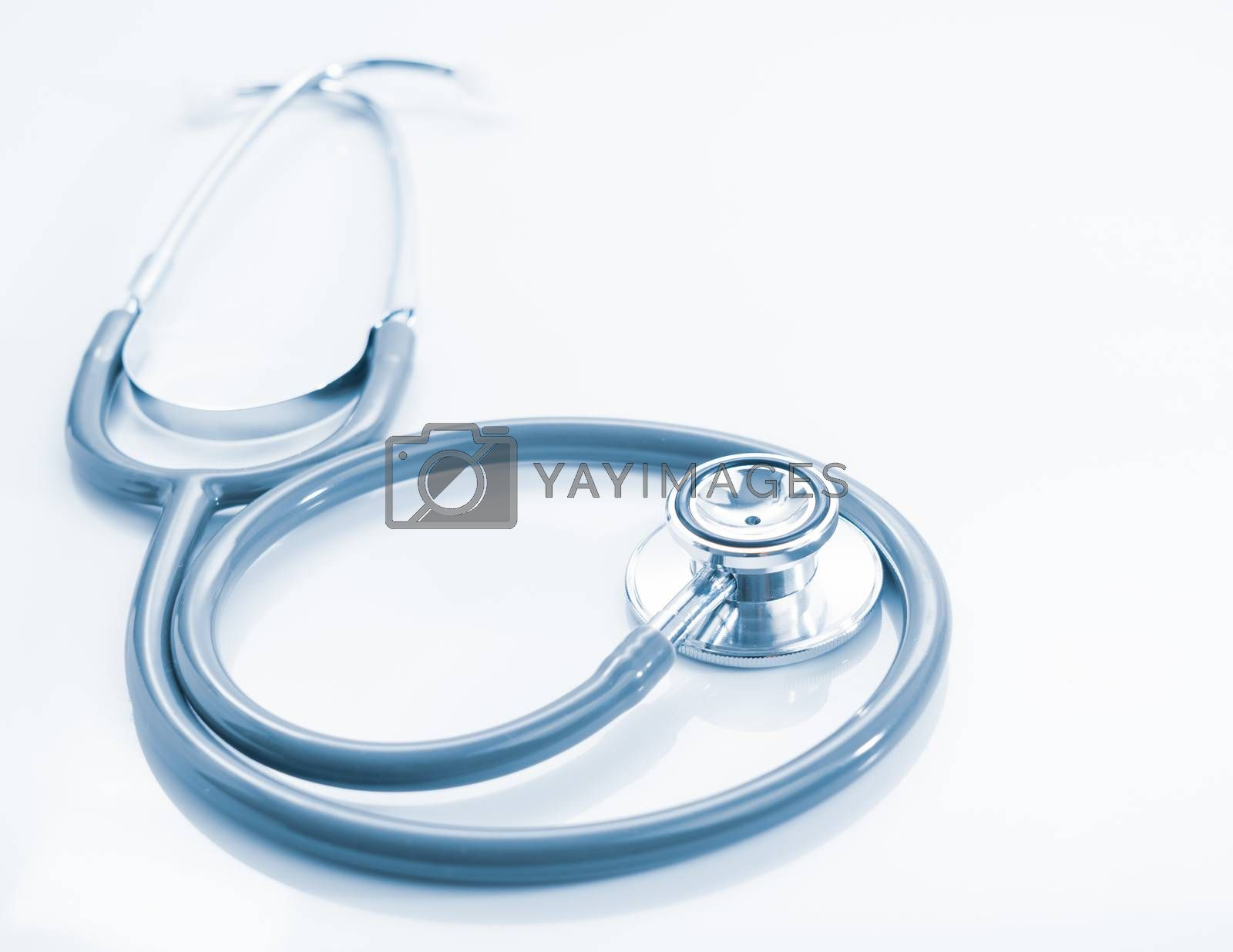 Stethoscope for doctor checkup on health medical laboratory table as medical concept