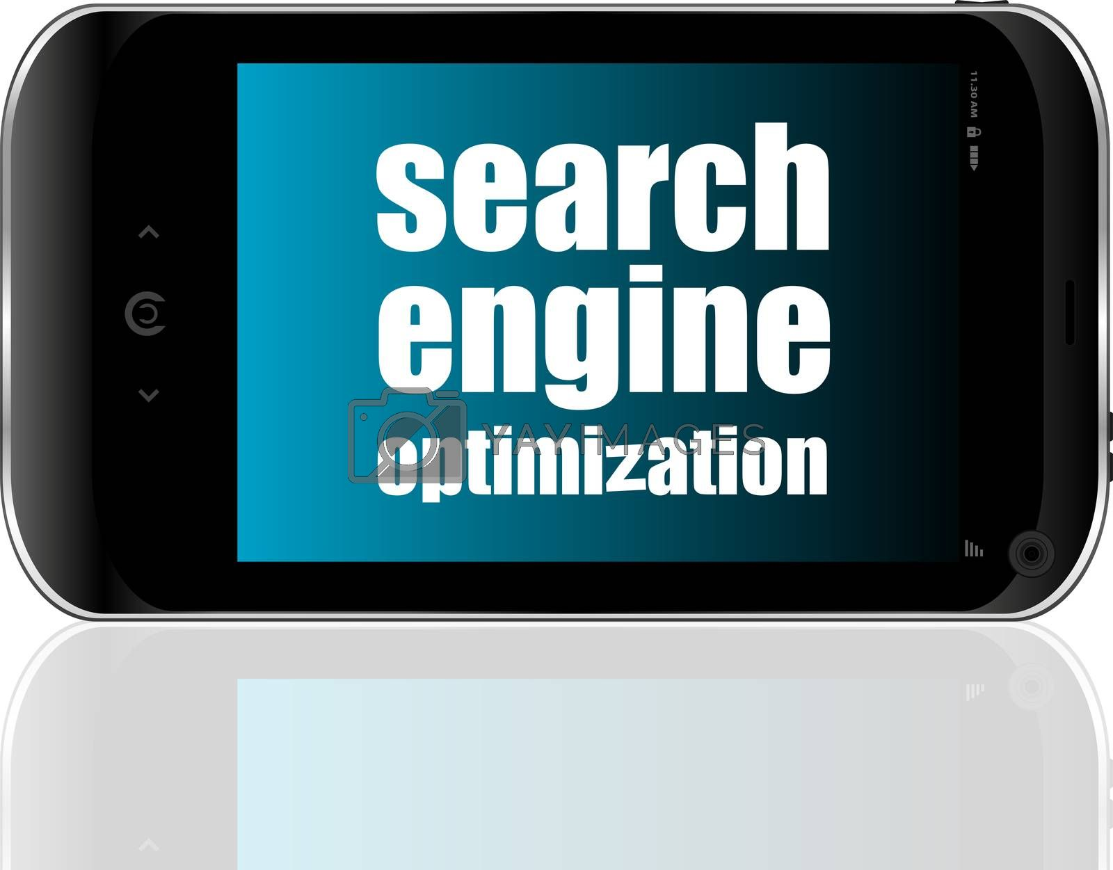 Search Engine Optimization Text. Information concept . Detailed modern smartphone