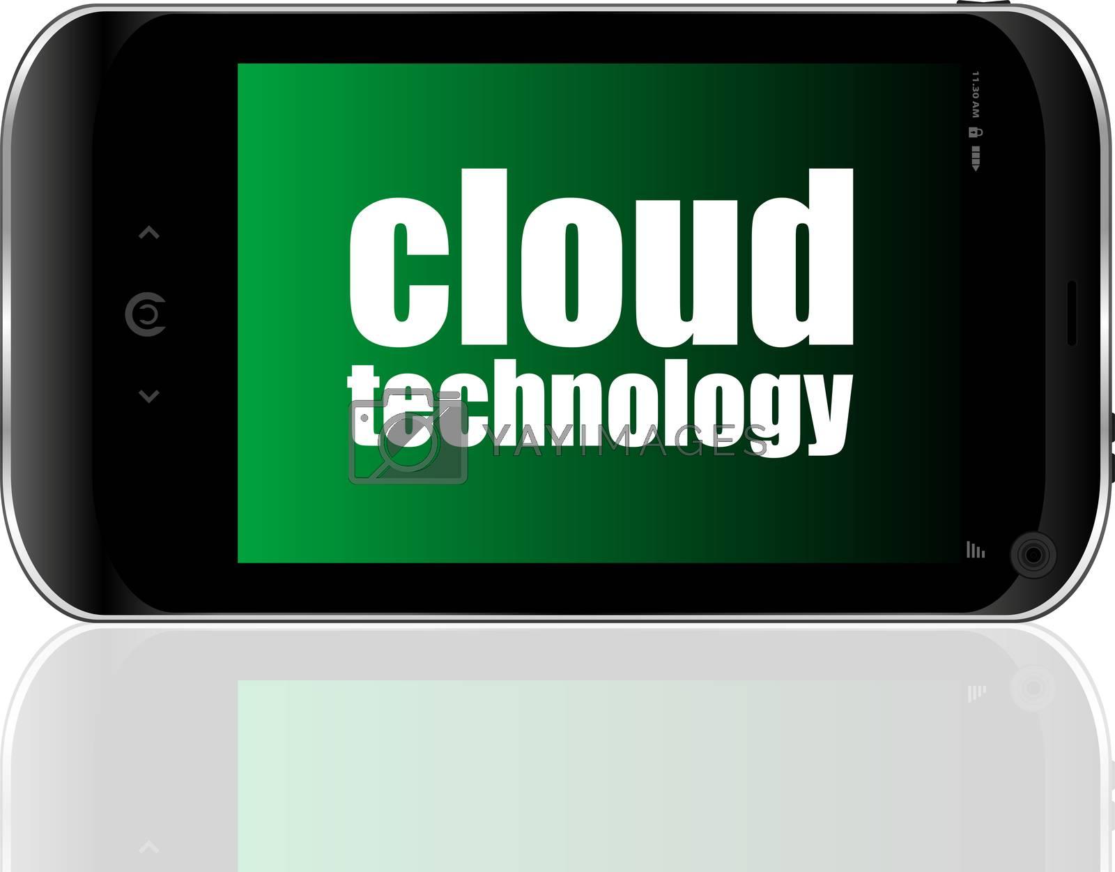 Text cloud technology. It concept . Detailed modern smartphone
