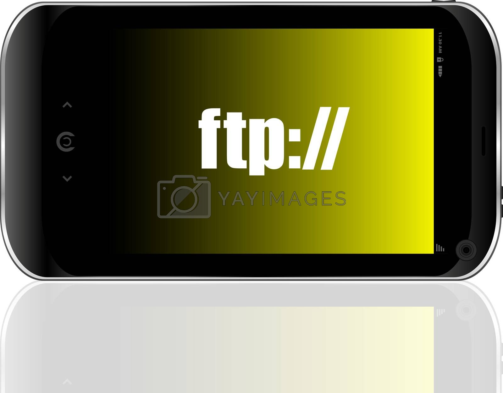 ftp text. global communication concept . Detailed modern smartphone