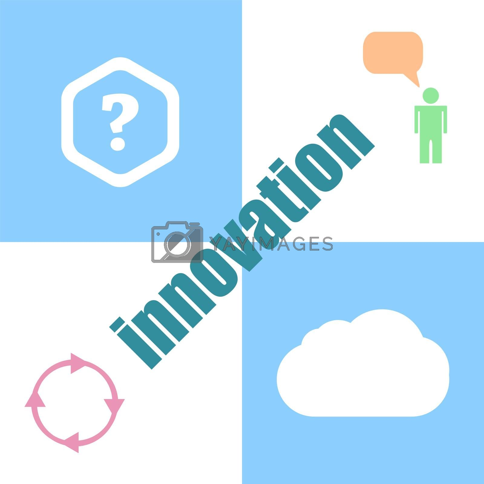 business concept. word innovation . Can be used for workflow layout, diagram, business step options, banner