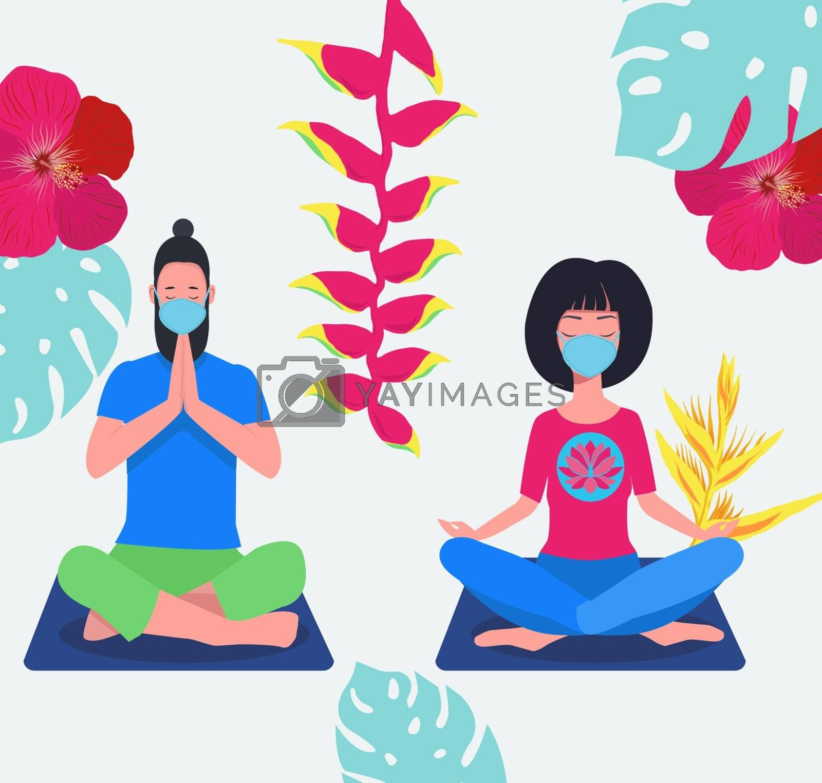 Male and Female wearing surgical face mask and practicing meditation yoga on nature background. Couple doing yoga with face mask on sitting in padmasana lotus pose relaxing. Covid-19 prevention.