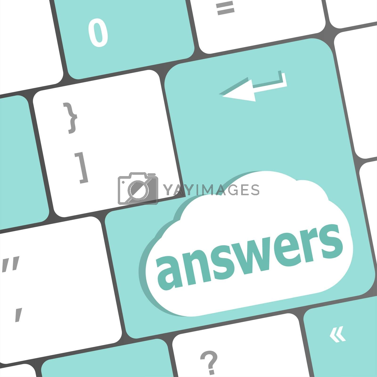 get answers concept on the modern keyboard keys