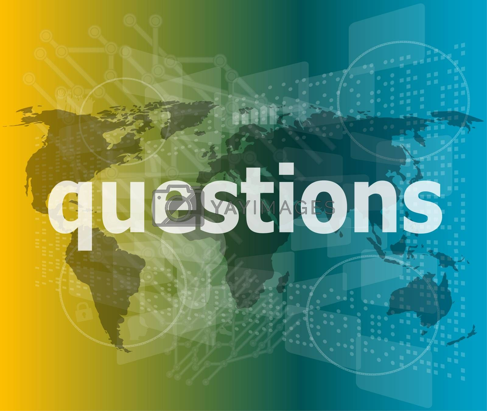 Education concept: words Questions on digital background
