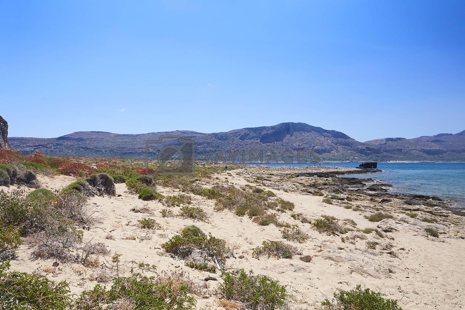 GRAMVOUSA - BALOS, THE CRETE ISLAND, GREECE - JUNE 4, 2019: Beautiful seaview at the Balos island.
