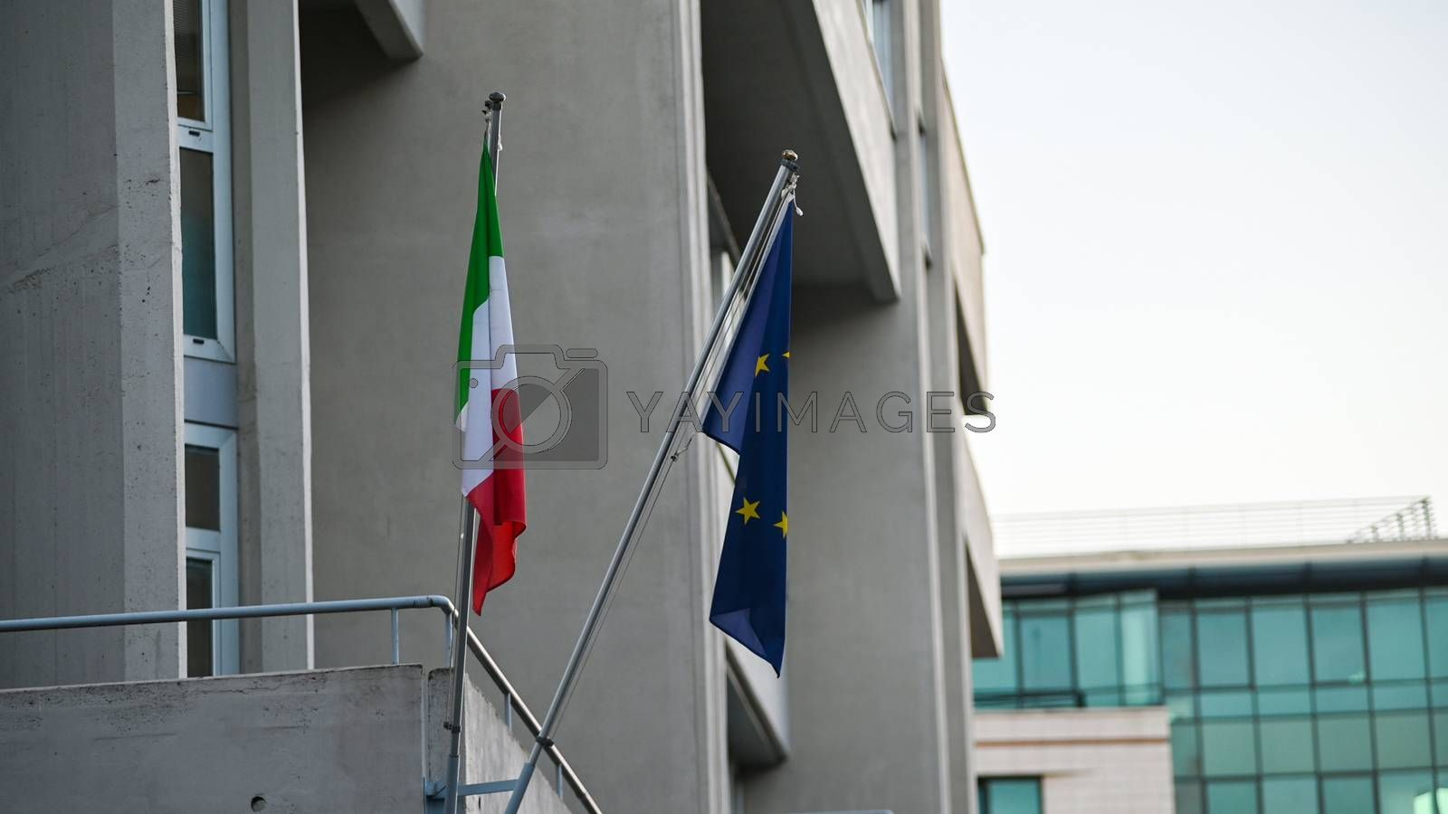 terni,italy november 17 2020:flags of italy and european communion at the court
