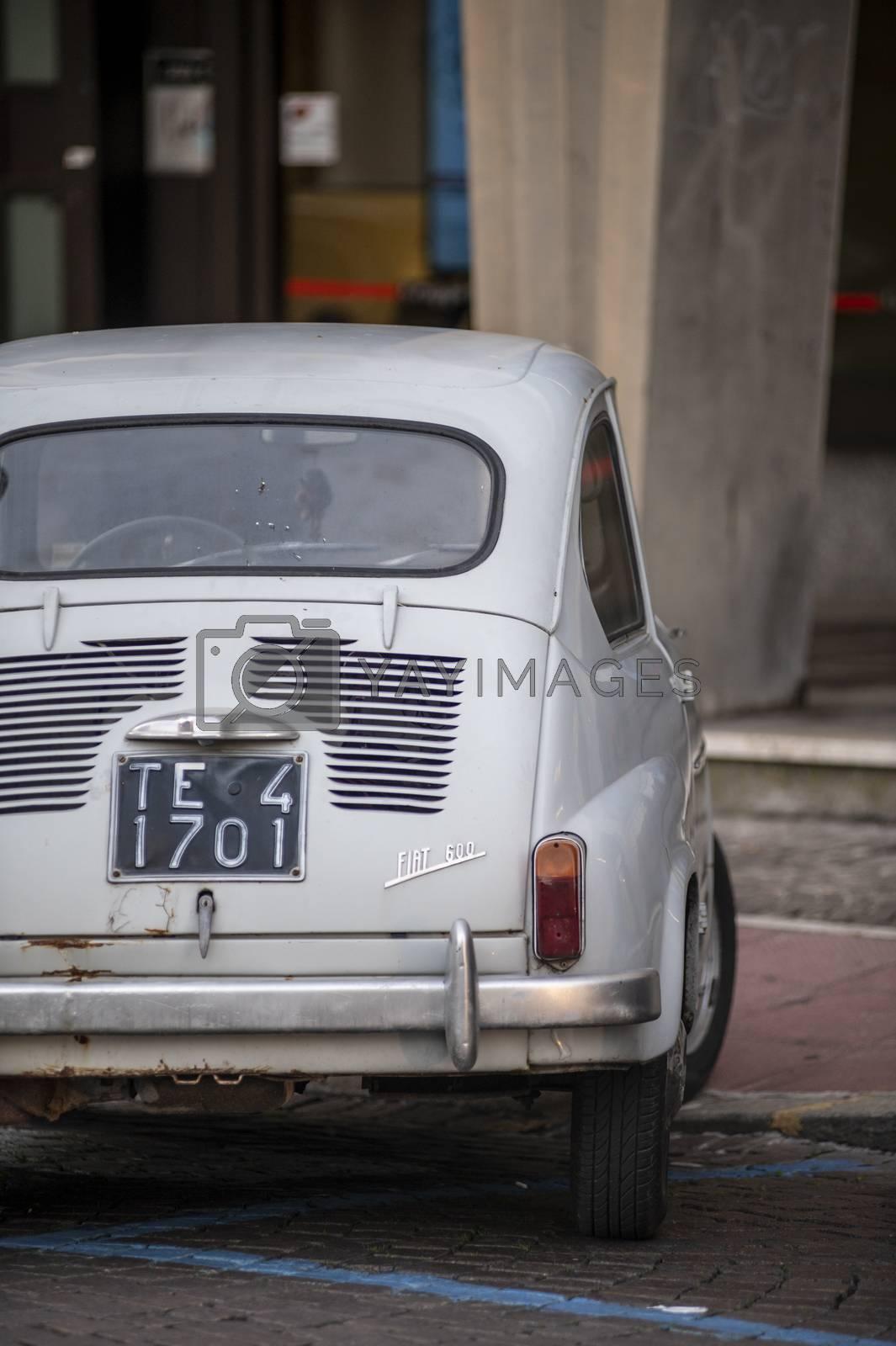 terni,italy november 17 2020:detail of the vintage fiat 600