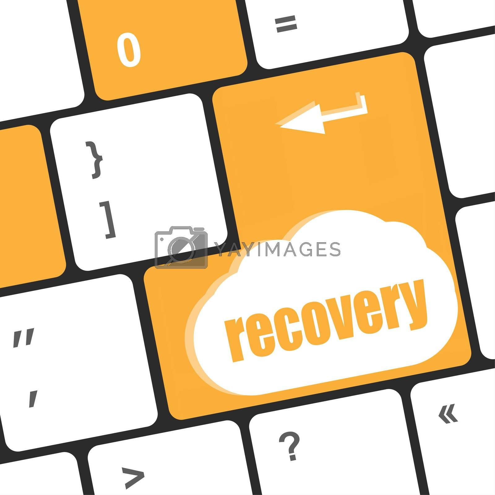 key with recovery text on laptop keyboard button