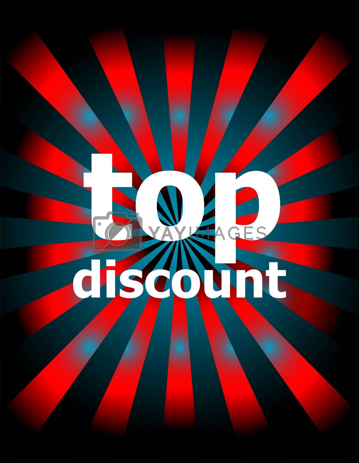 Text Top discount. Business concept . Abstract background with red and blue rays