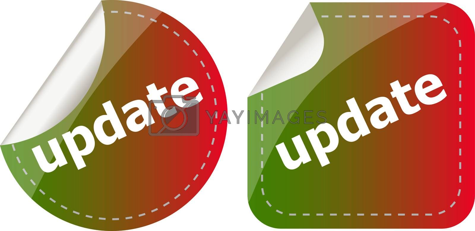 update. stickers set, web icon button isolated on white