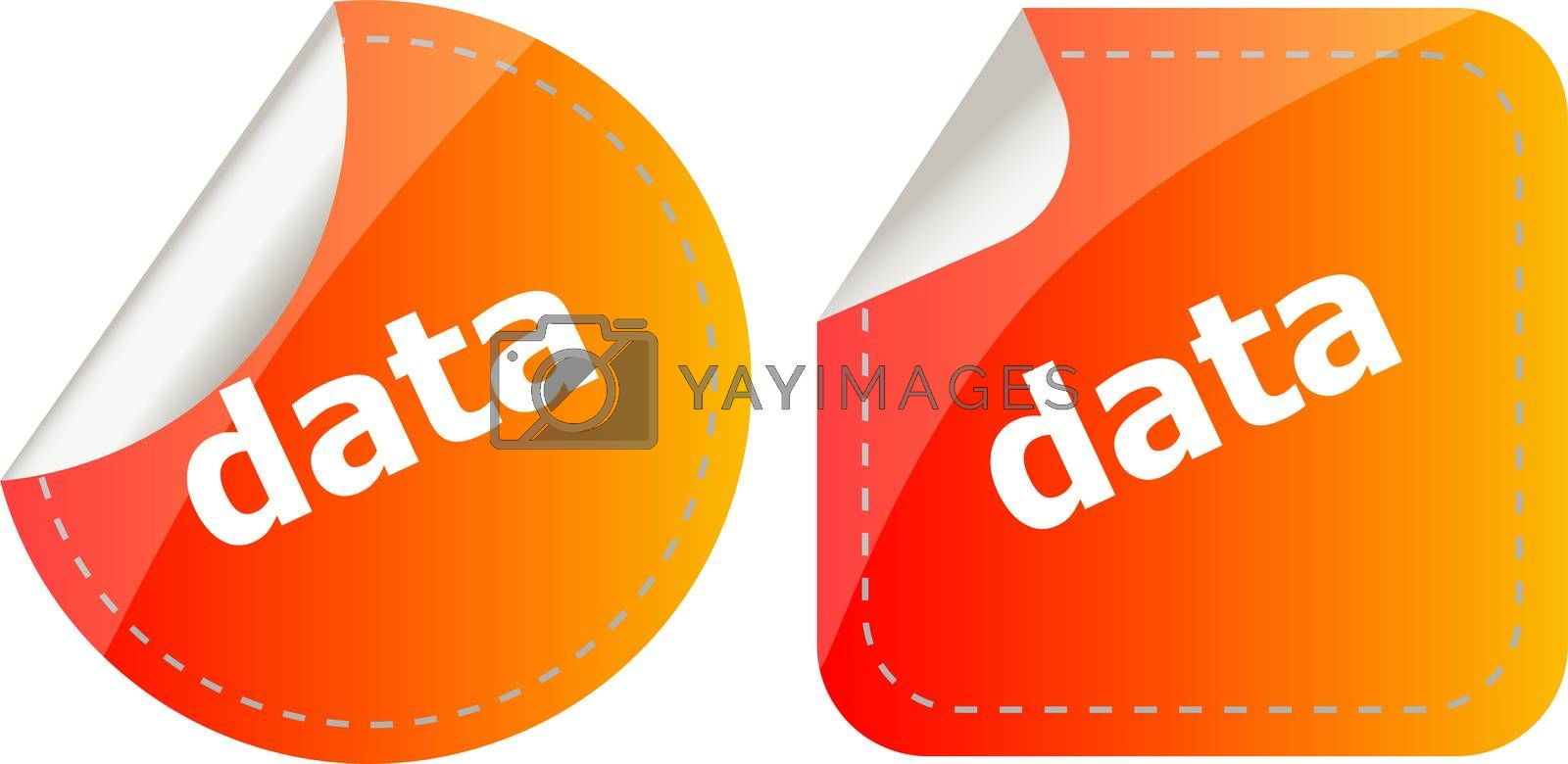 data word stickers web button set, label, icon