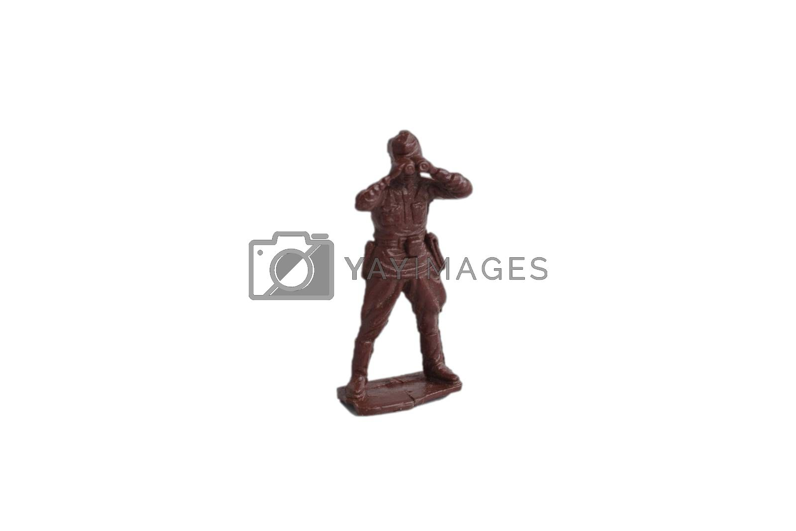 Toy soldiers isolated on white background. Old vintage toy soldiers