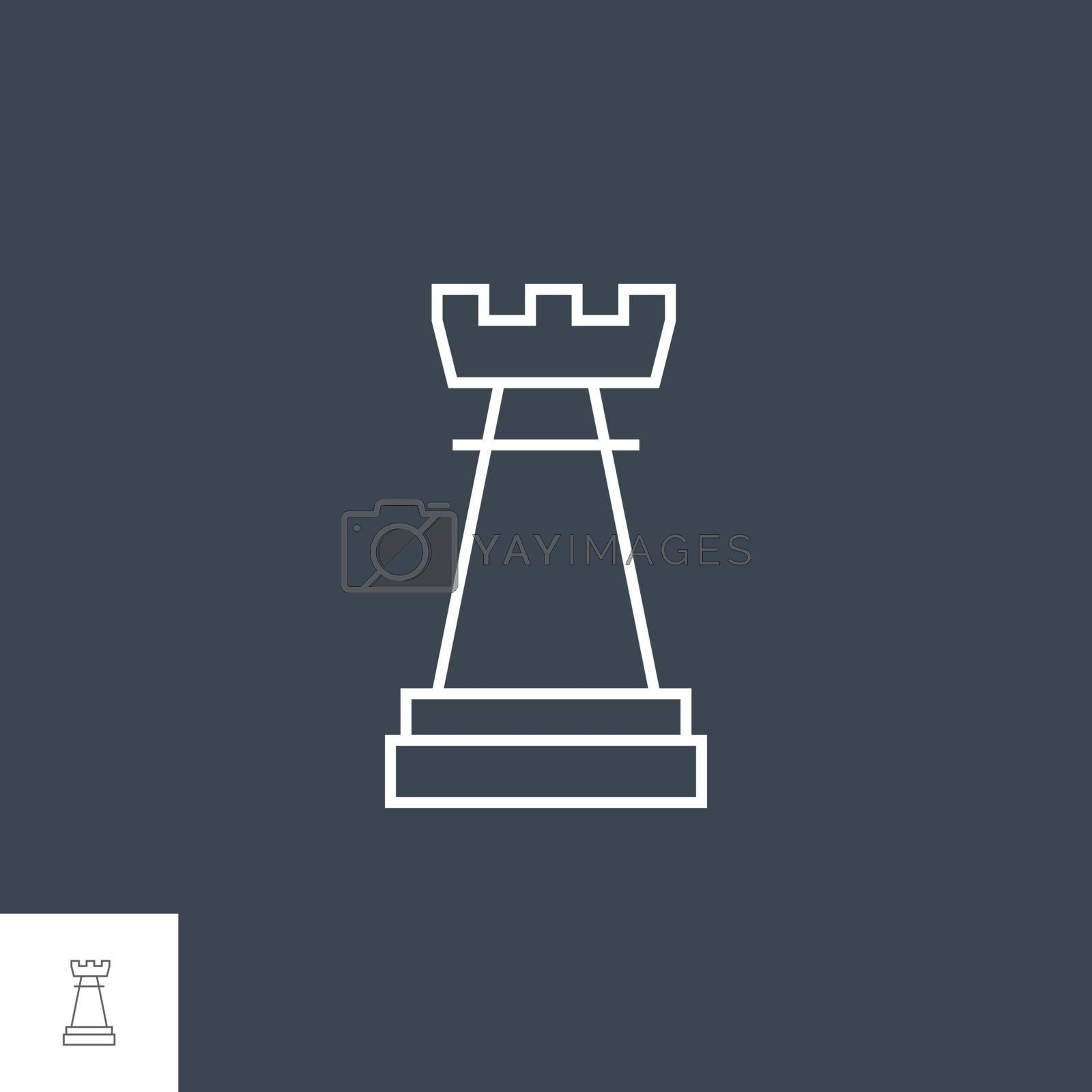 Chess Rook Related Vector Thin Line Icon. Isolated on Black Background. Editable Stroke. Vector Illustration.
