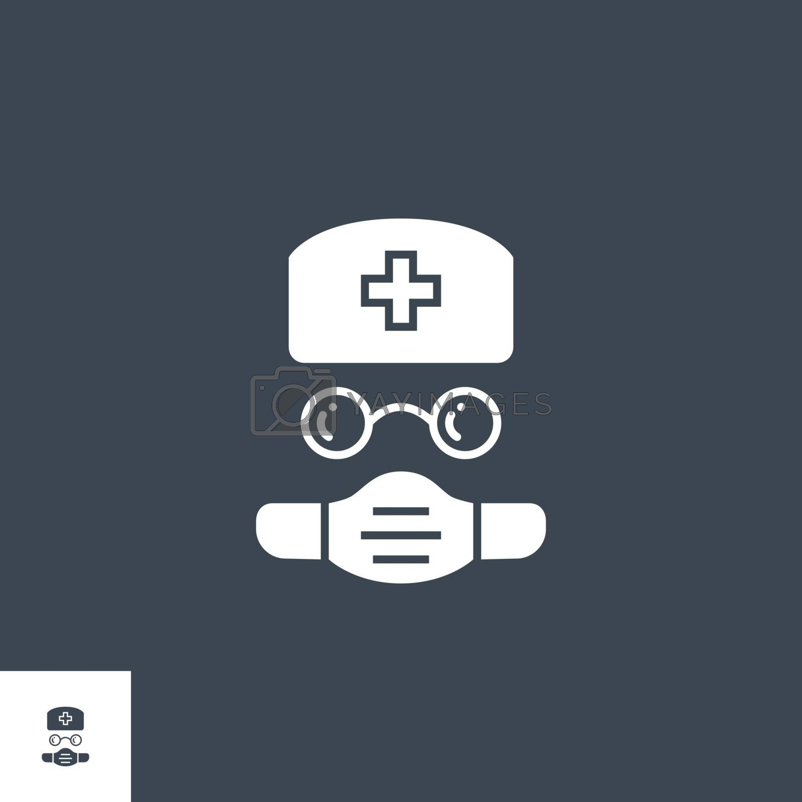 Doctor related vector glyph icon. Isolated on black background. Vector illustration.