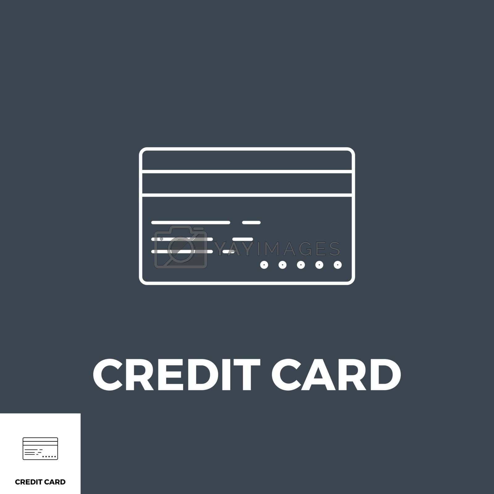 Credit card related vector thin line icon. Isolated on black background. Vector illustration.