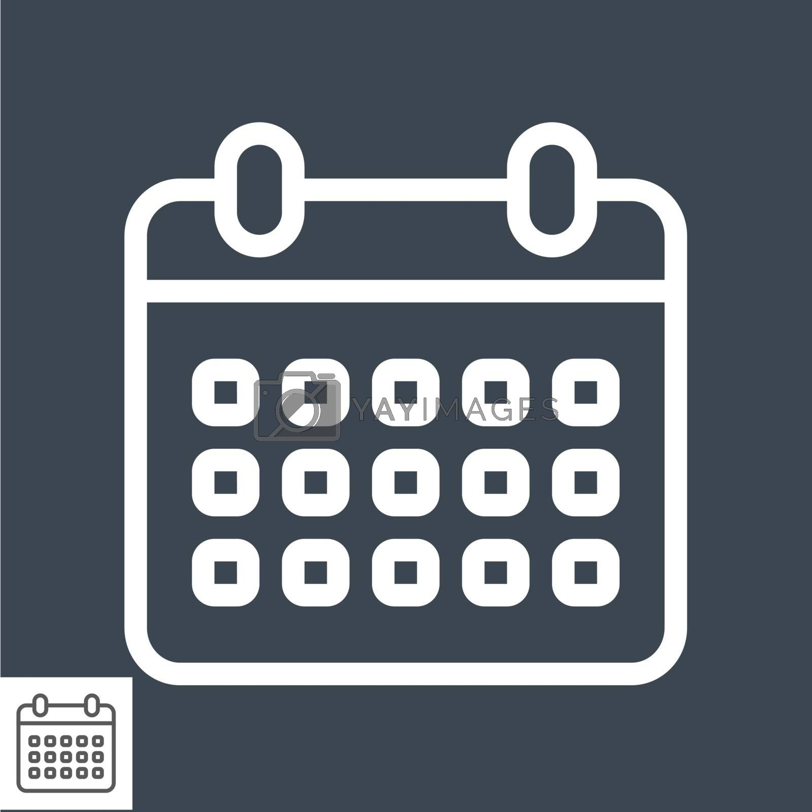 Calendar Thin Line Vector Icon. Flat icon isolated on the black background. Editable EPS file. Vector illustration.