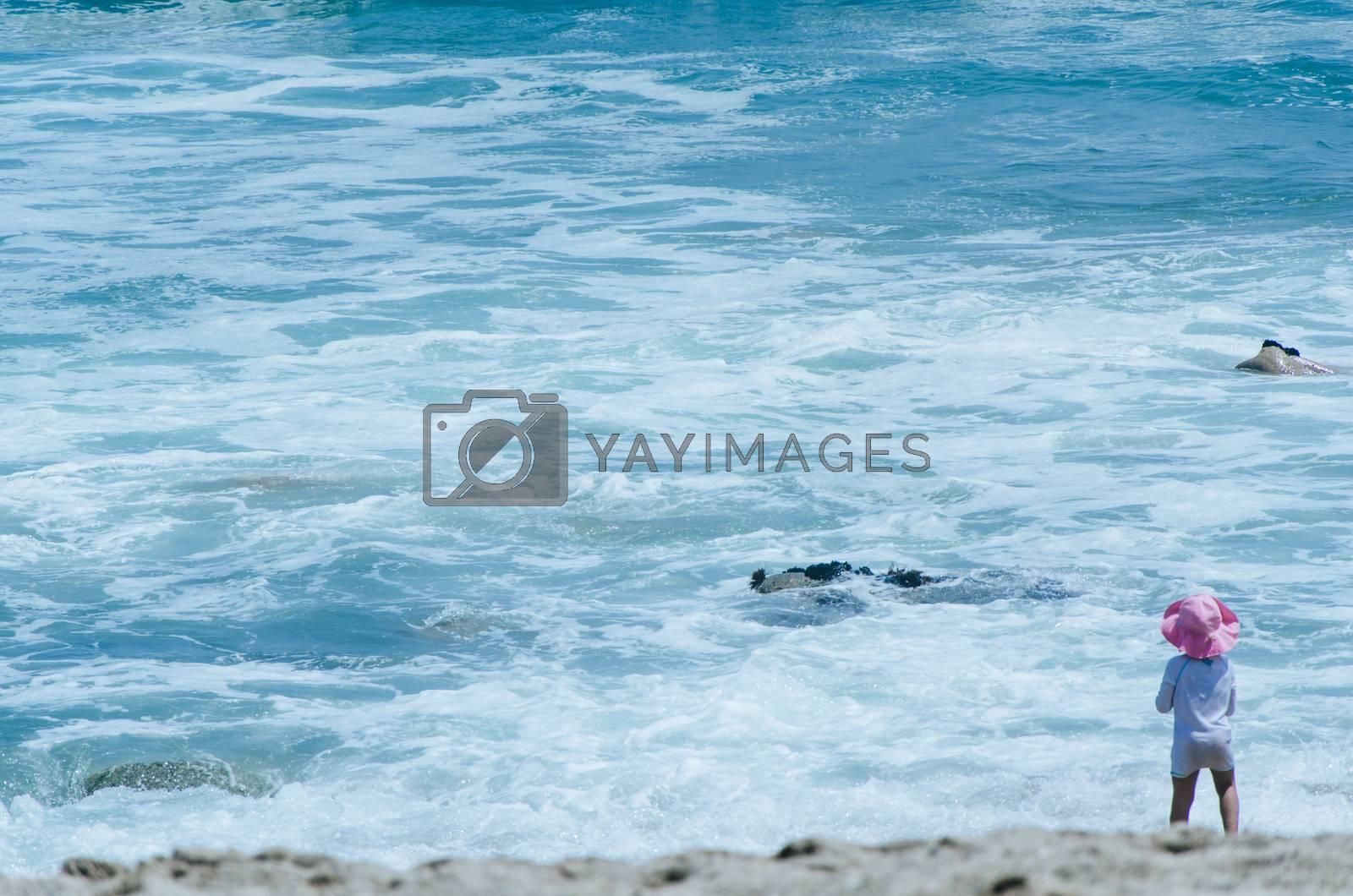 Boy playing on the seashore, summer vacation