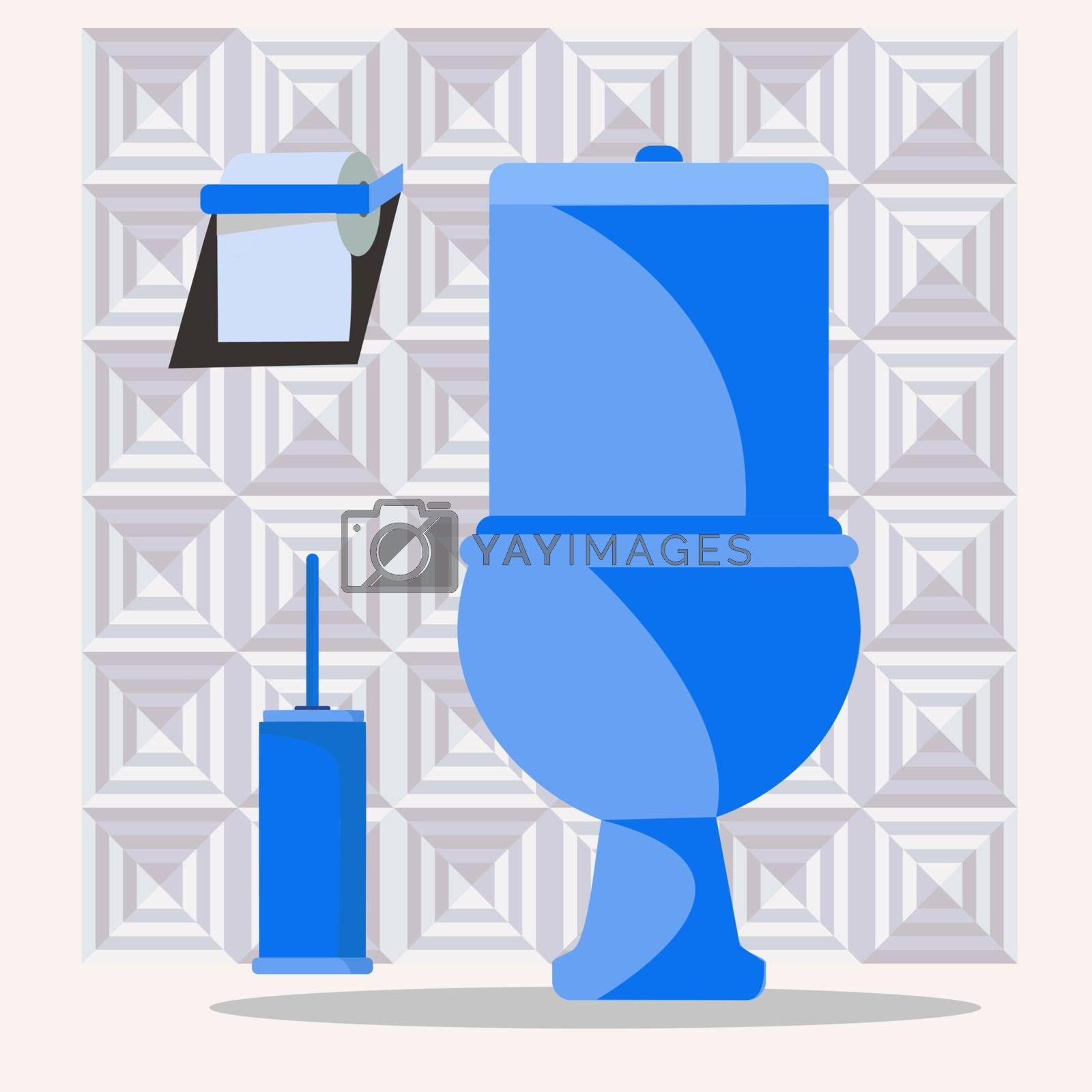 set with toilet bowl, toilet brush and papper. by Margolana