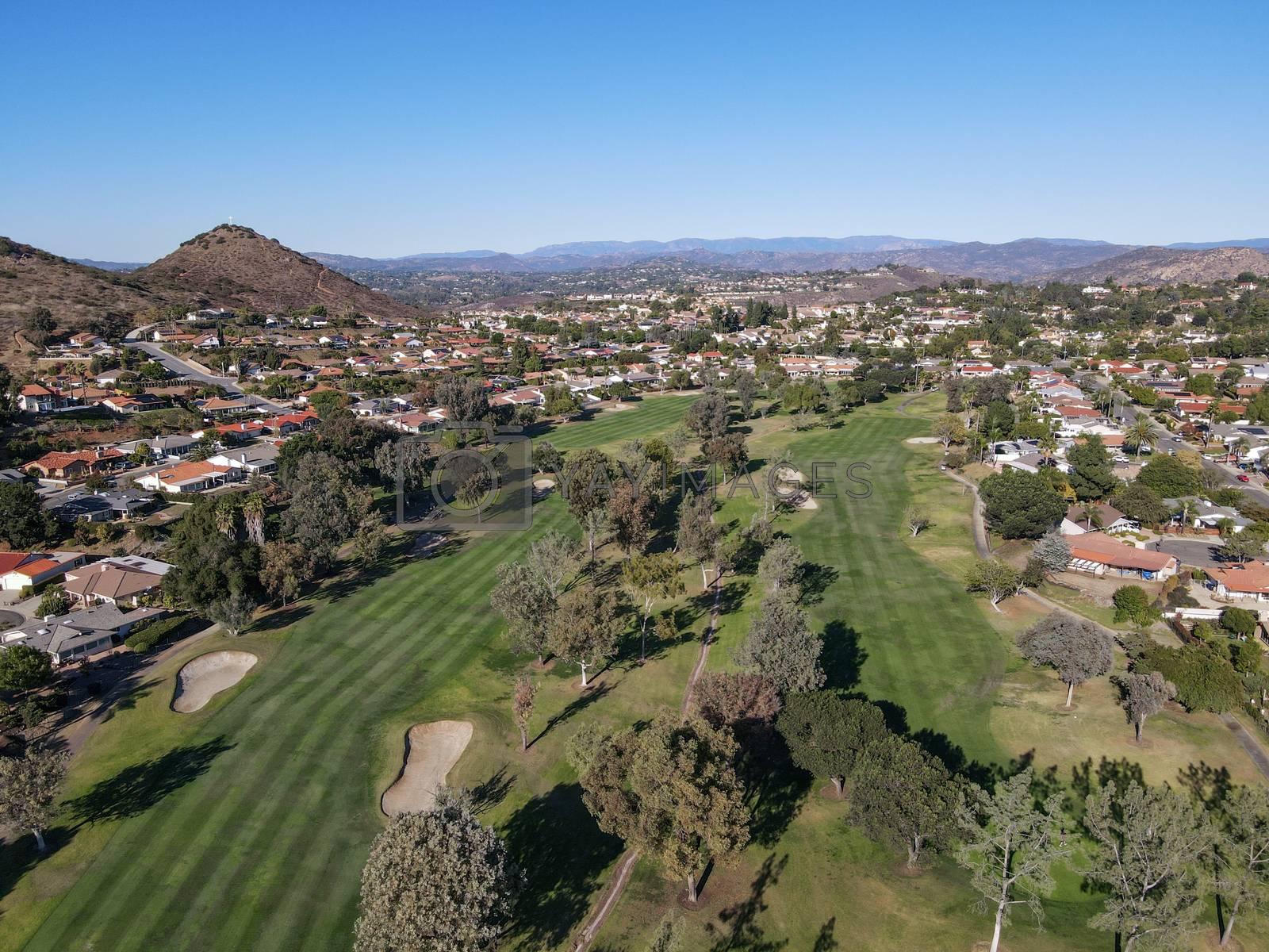 Aerial view of golf in upscale residential neighborhood during autumn season, Rancho Bernardo, San Diego County, California. USA.