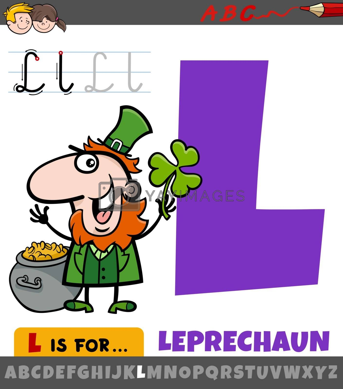 Educational cartoon illustration of letter L from alphabet with leprechaun character for children