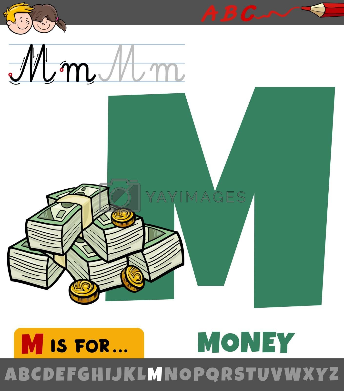 Educational cartoon illustration of letter M from alphabet with money for children