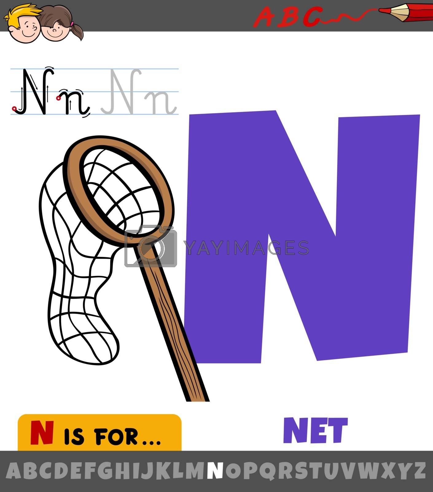Educational cartoon illustration of letter N from alphabet with net for children