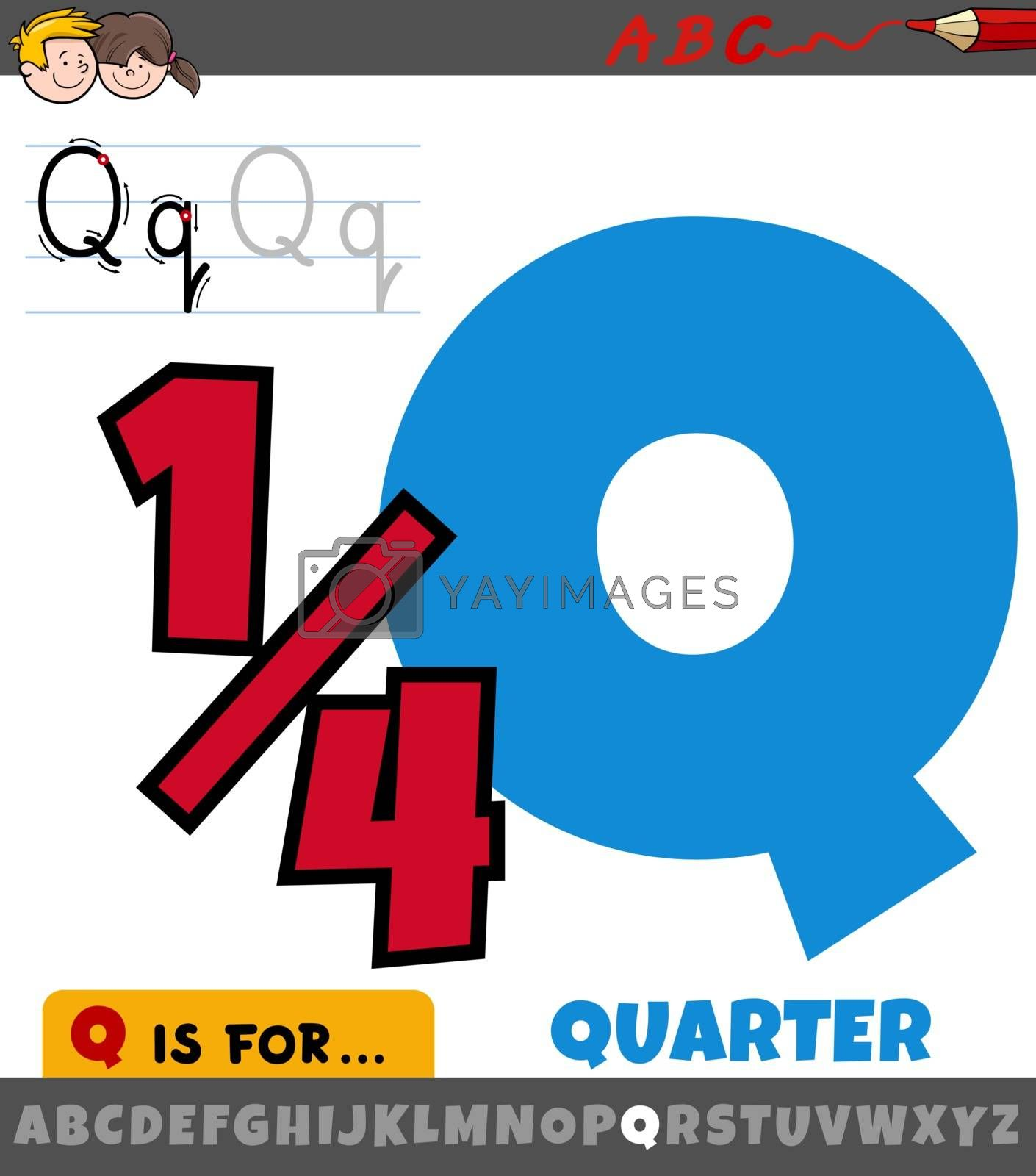 Educational cartoon illustration of letter Q from alphabet with quarter symbol for children