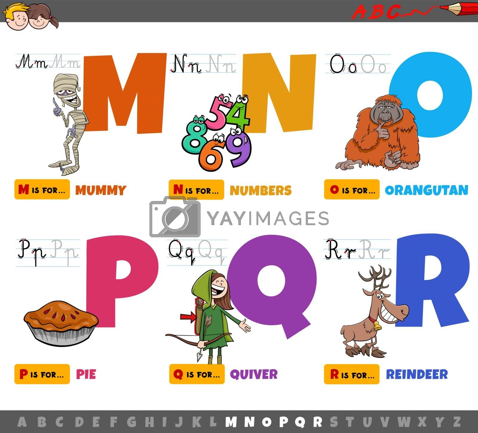 Cartoon illustration of capital letters from alphabet educational set for reading and writing practise for children from M to R